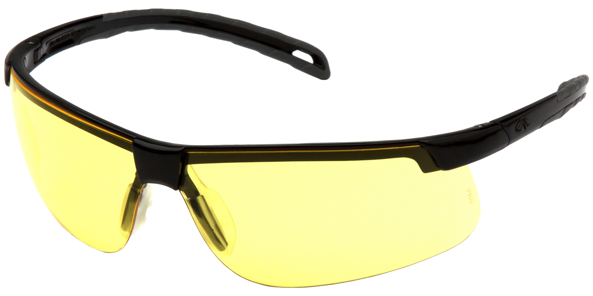 Safety Glasses Black Frame - Amber Lens