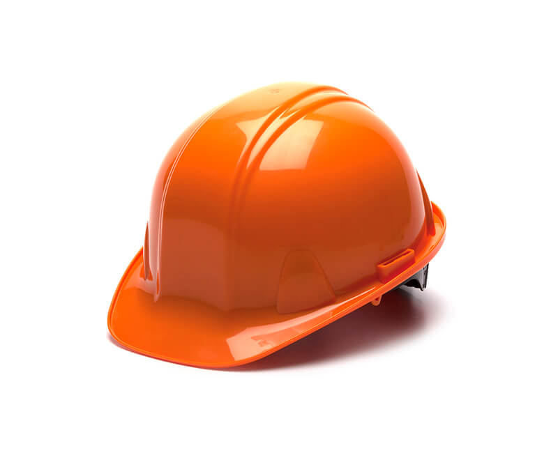 Orange Hard Hat - 4 Point Pin Lock Suspension