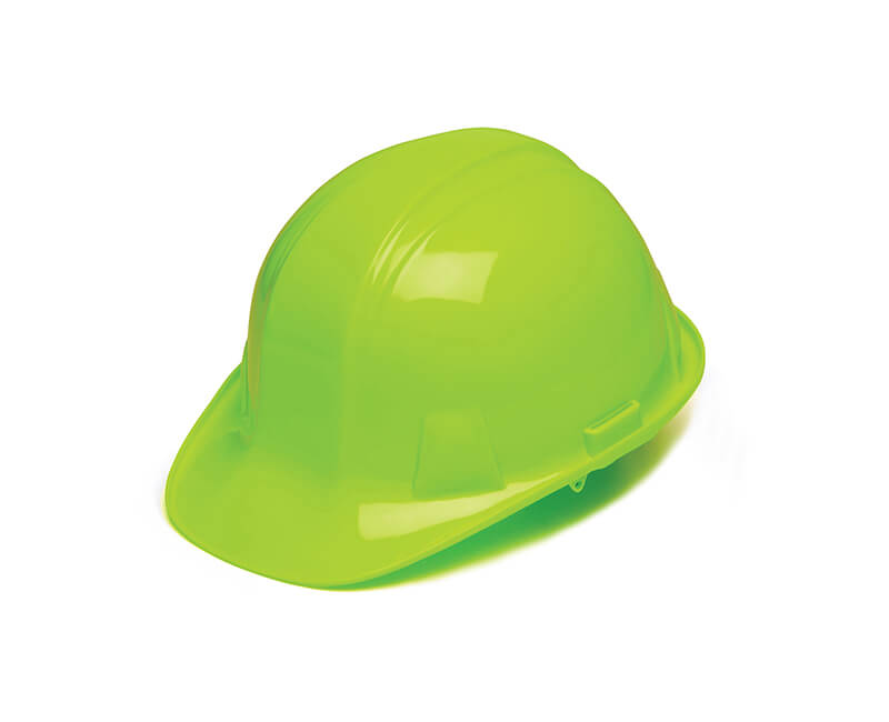 Hi-Viz Lime Hard Hat - 4 Point Ratchet Suspension