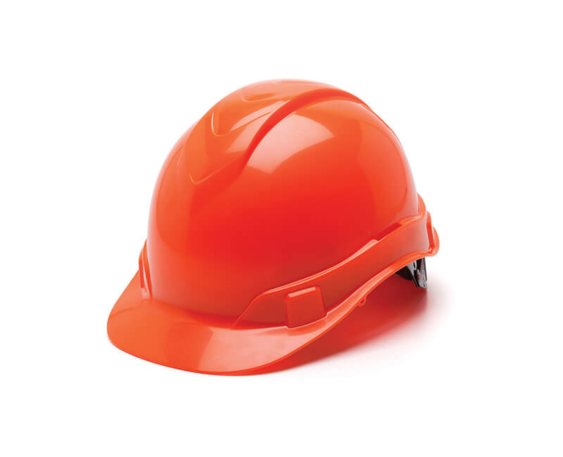 Hi-Vis Orange Hard Hat - 6 Point Ratchet Suspension