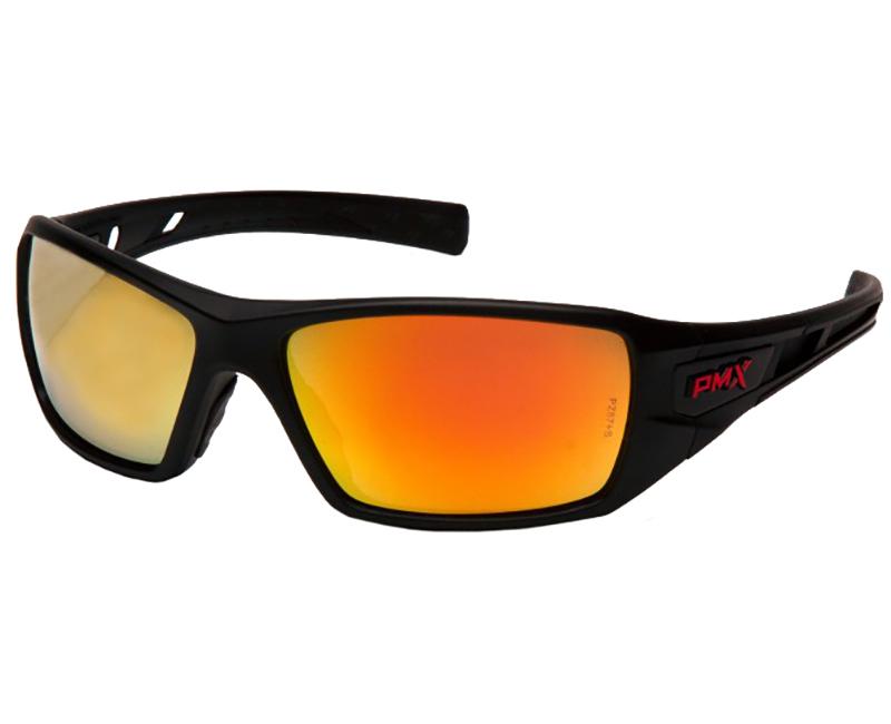 Safety Glasses Black Frame - Ice Orange Mirror Lens