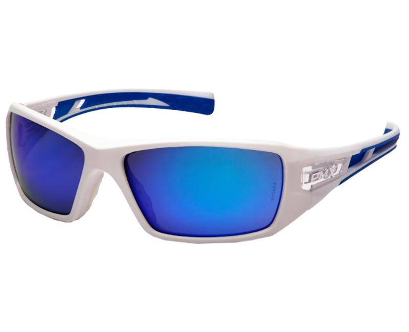 Safety Glasses White Frame - Ice Blue Mirror Lens