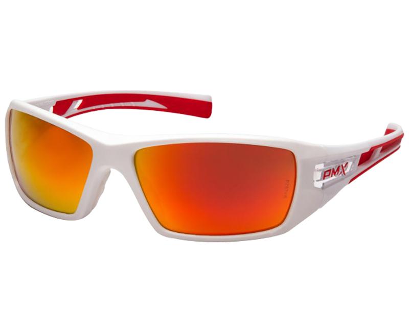 Velar Saftey Glasses White Frame - Sky Red Mirror Lens