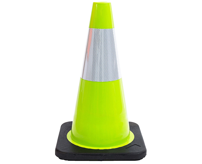 "18"" LIME TRAFFIC SAFETY CONE 3LB W/ REFLECTIVE COLLAR"