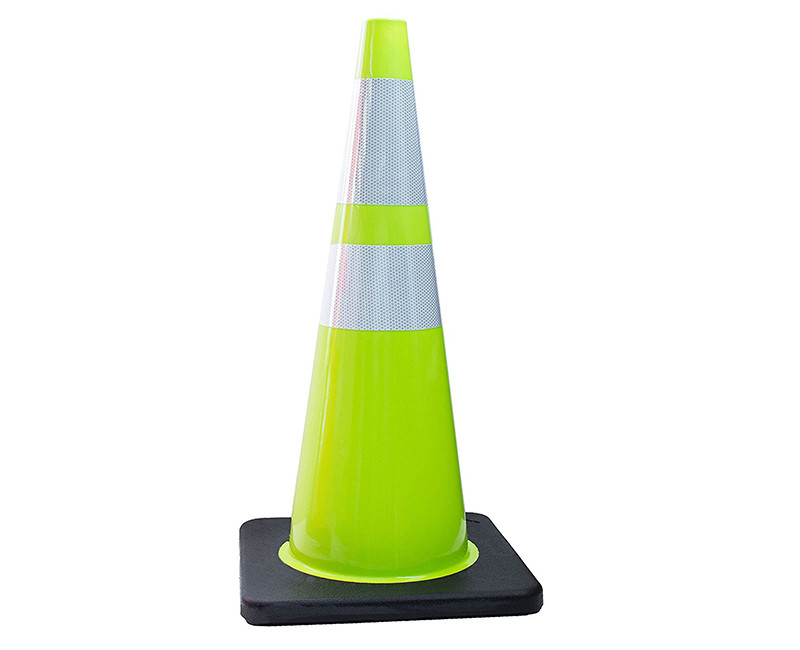"28"" LIME TRAFFIC SAFETY CONE 7 LB WITH 4""+ 6"" REFLECTIVE COLLARS"