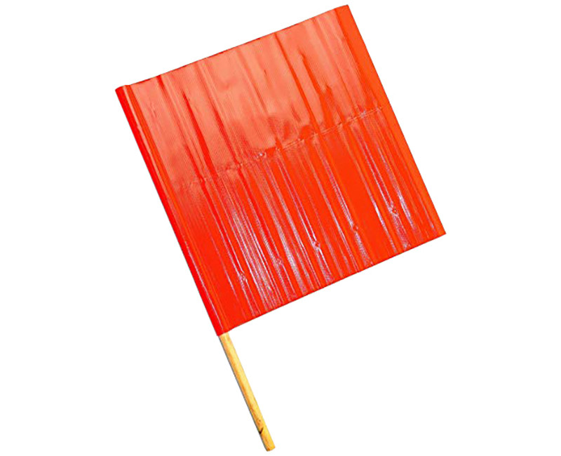 "ORANGE FLAG W/ 30"" WOOD HANDLE"