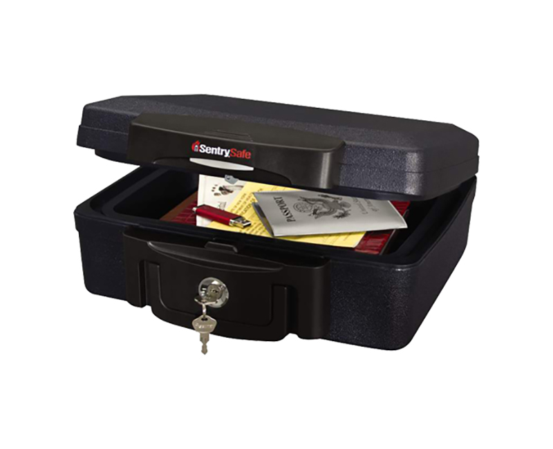 Small Black Privacy Lock Chest W/ 1/2 Hr Fire/Water Protection