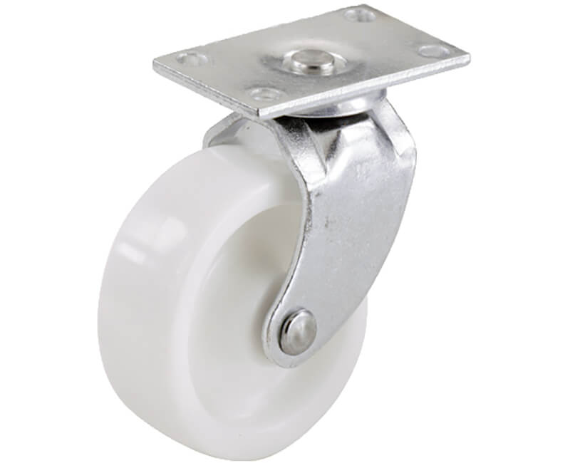 "1-1/4"" White Plastic Swivel Bearing Plate - 2 Per Card"