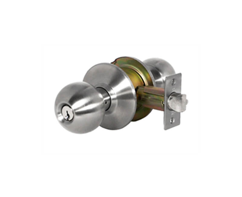 Heavy Duty Cylindrical Ball Knob - Storeroom Lockset US32D 2-3/8 Backset