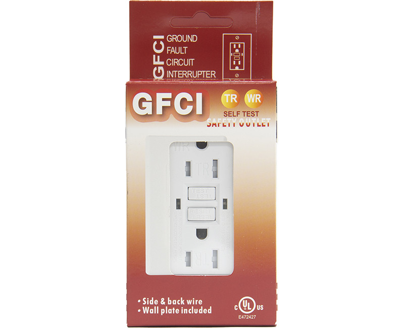 White GFCI Tamper/Weather Resistant Self Test - 15 AMP