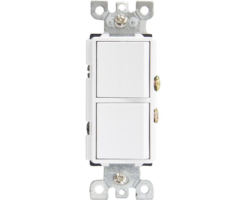 15 AMP 120 Volt Decorator Single Pole Double Switch - White Boxed
