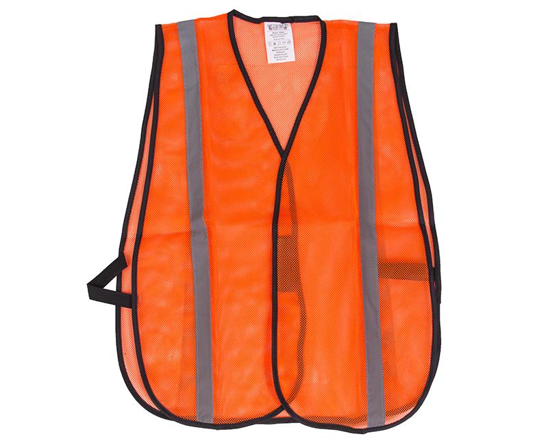 "Orange Mesh Vest With 1"" Silver Reflective Strip - Adjustable Closure"