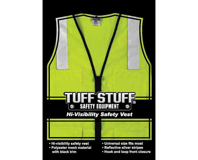 """Lime Mesh Vest With 2"""" Silver Reflective Strip - Fits 2X - 3X"""