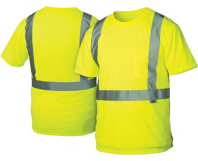 "T-Shirts Hi-Vis Lime with 2"" Silver Reflective Strip"