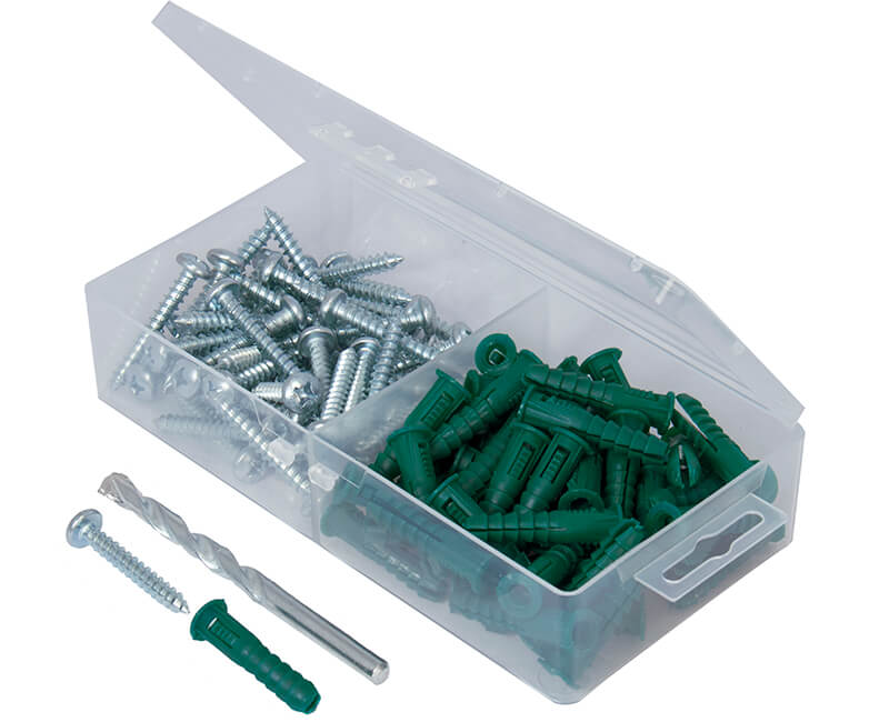 100 Pc. Plastic Ribbed Anchor Kit With Masonry Drill Bit - 14-16