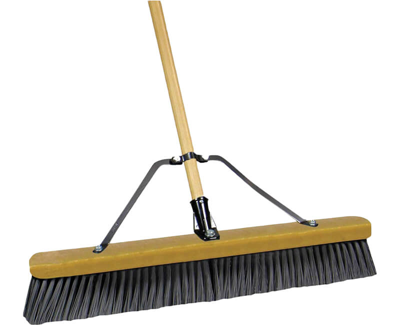 "60"" Wood Handle Push Broom - Black"