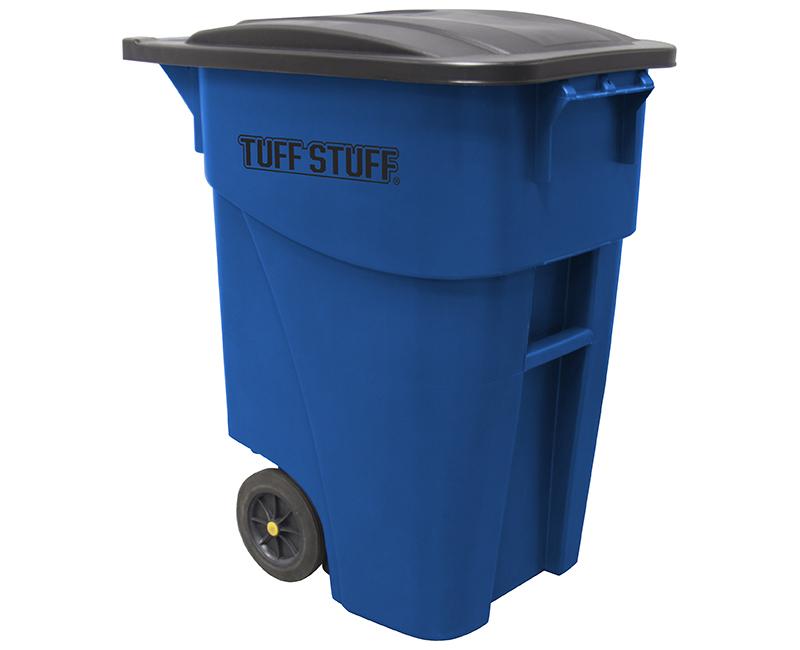 50 Gal. Square Wheeled W/ Blue Lid Trash Can