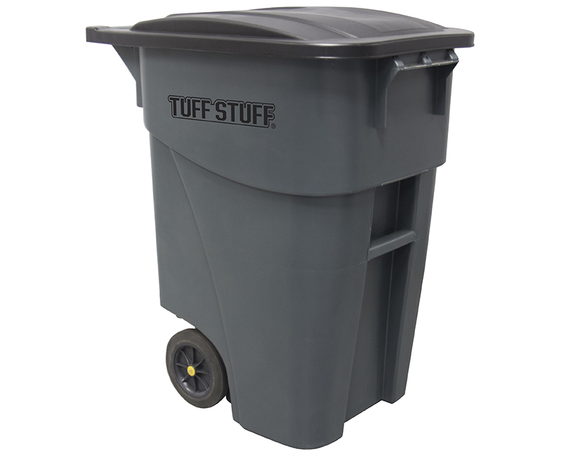 50 Gal. Square Wheeled W/ Gray Lid Trash Can