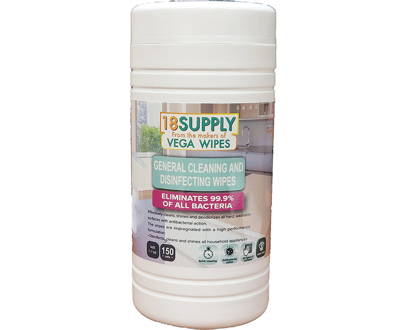 150 COUNT GENERAL CLEANING ANTIBACTERIAL DISINFECTING WIPES KILLS 99.9% OF BACTERIA