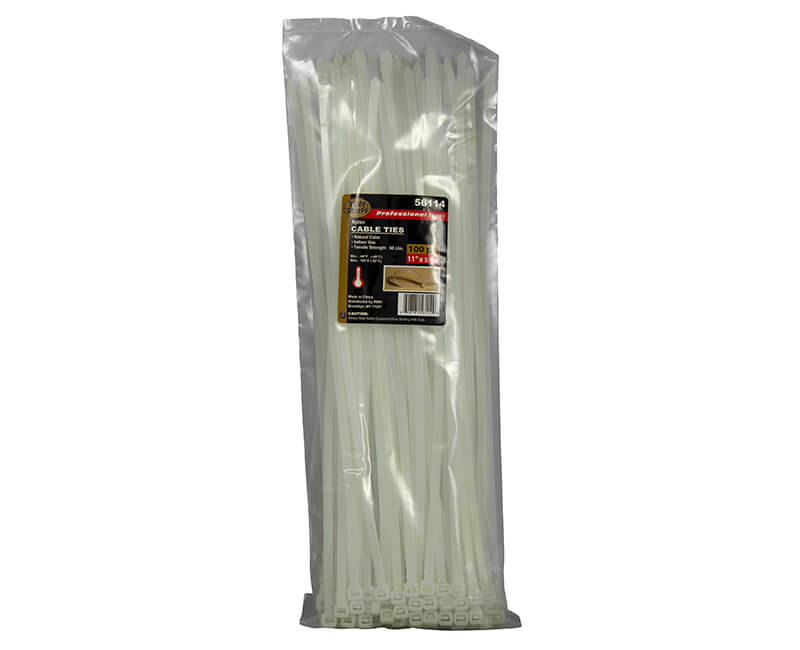"11"" Natural Nylon Cable Ties"