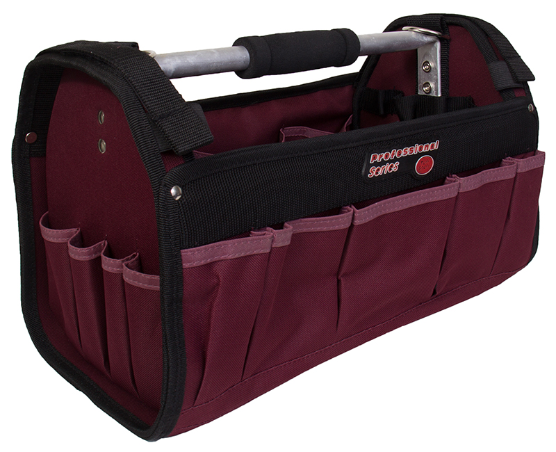 "16"" Polyester Tool Bag With Aluminum Handle - 30 Pockets"