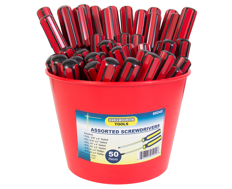 50 PC. Phillips and Slotted Screwdriver Bucket