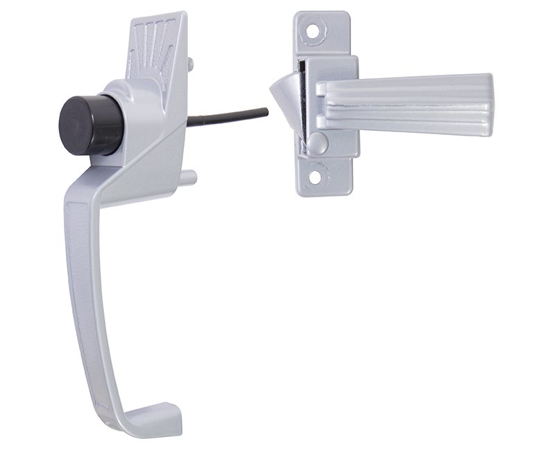 "Push Button Screen Door Latch With 1-3/4"" Hole Spacing - Aluminum Finish"