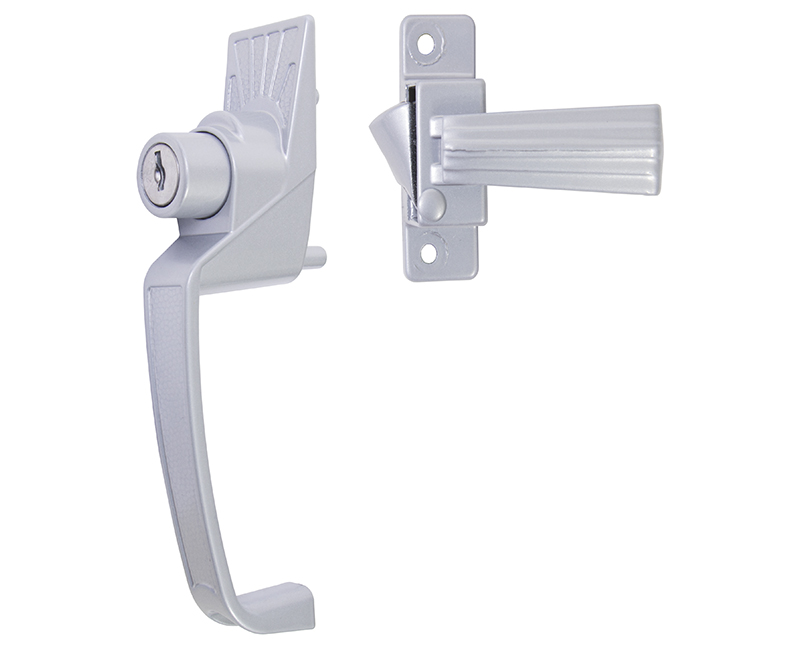 """Push Button Screen Door Latch With Key Cylinder and 1-3/4"""" Hole Spacing - Aluminum Finish"""