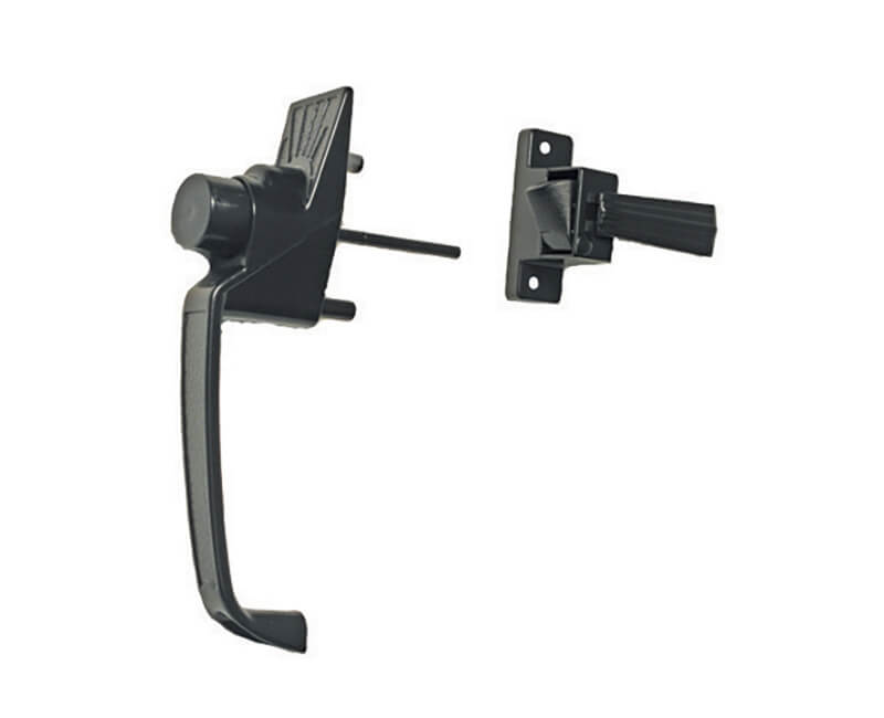 """Push Button Screen Door Latch With 1-1/2"""" Hole Spacing - Black Finish"""