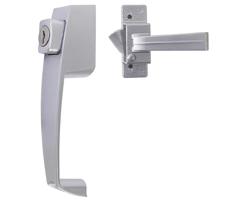 """Push Button Screen Door Latch With Key Cylinder and 1-1/2"""" Hole Spacing - Aluminum Finish"""