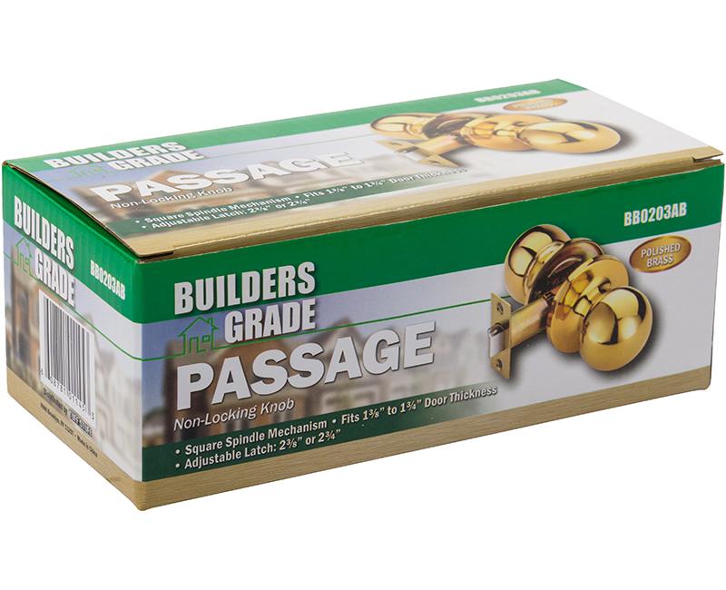 Builder's Grade Ball Style Lockset Passage Adj. Backset Boxed - US3