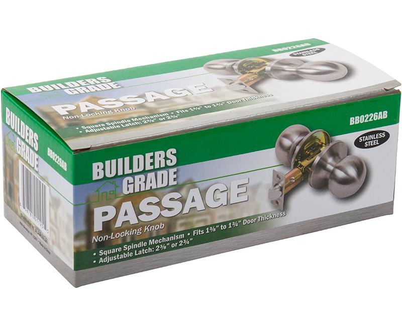 Builder's Grade Ball Style Lockset Passage Adj. Backset Boxed - 32D