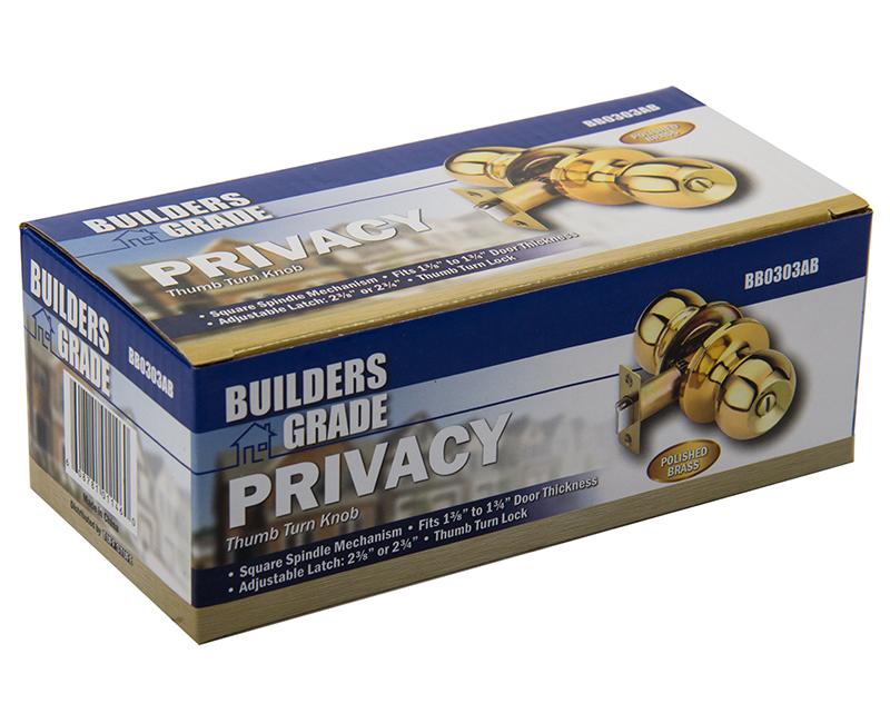 Builder's Grade Ball Style Lockset Privacy Adj. Backset Boxed - US3