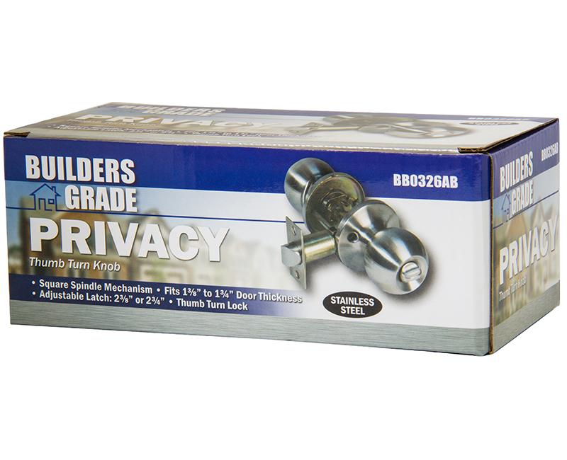 Builder's Grade Ball Style Lockset Privacy Adj. Backset Boxed - 32D