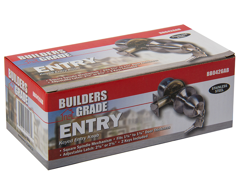 Builder's Grade Ball Style Lockset Entry Adj. Backset Boxed- 32D