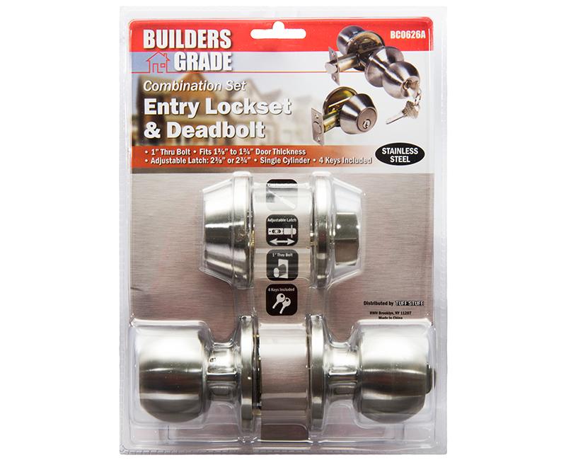 Builder's Grade Ball Style Lockset Combo Carded - 32D