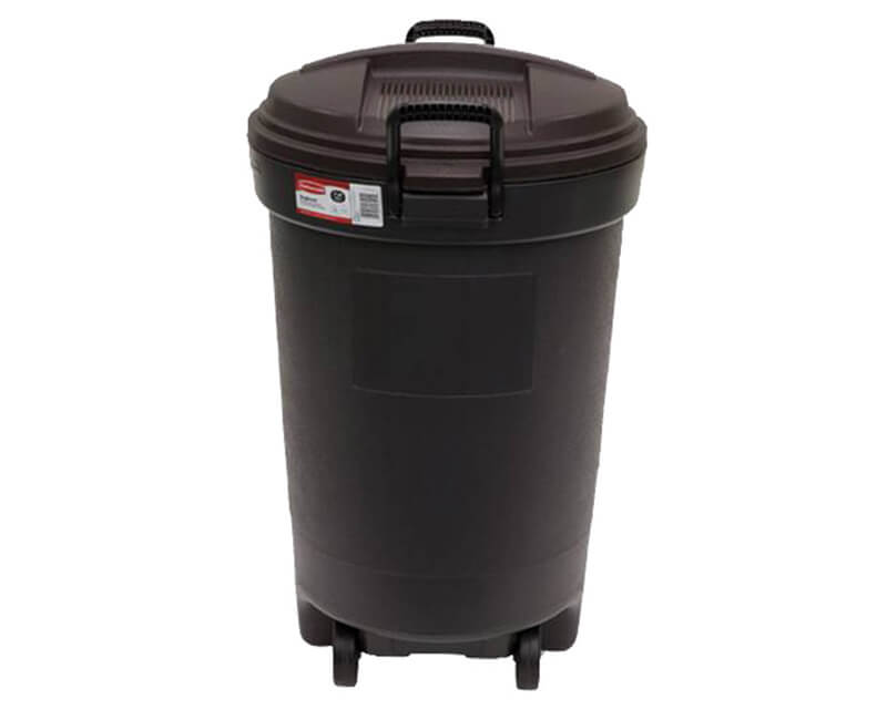 32 GAL. Rubbermaid Round Wheeled Plastic Trash Can With Lid