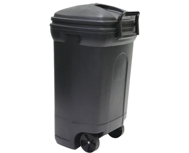 34 GAL. Rectangular Wheeled Plastic Trash Can With Lid