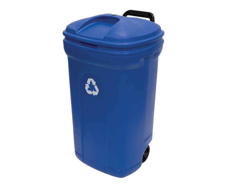 34 GAL. Blue Recycling Wheeled Plastic Trash Can With Lid