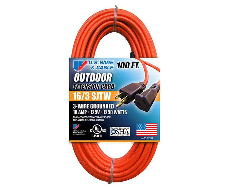 16/3 X 100' Orange Indoor/Outdoor Extension Cord