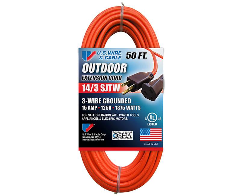 14/3 X 50' Orange Indoor/Outdoor Extension Cord