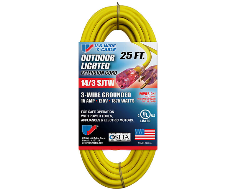 14/3 X 25' All Weather Yellow Extension Cord With Lighted Ends