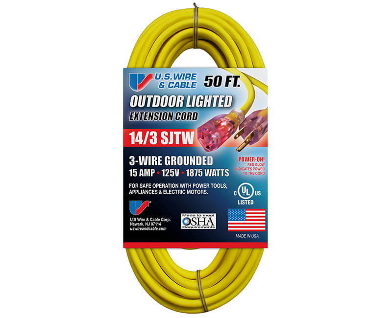 14/3 X 50' All Weather Yellow Extension Cord With Lighted Ends