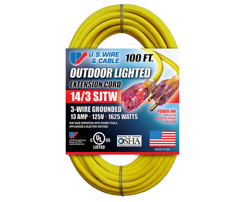 14/3 X 100' All Weather Yellow Extension Cord With Lighted Ends