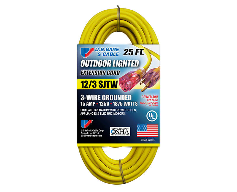 12/3 X 25' All Weather Yellow Extension Cord With Lighted Ends