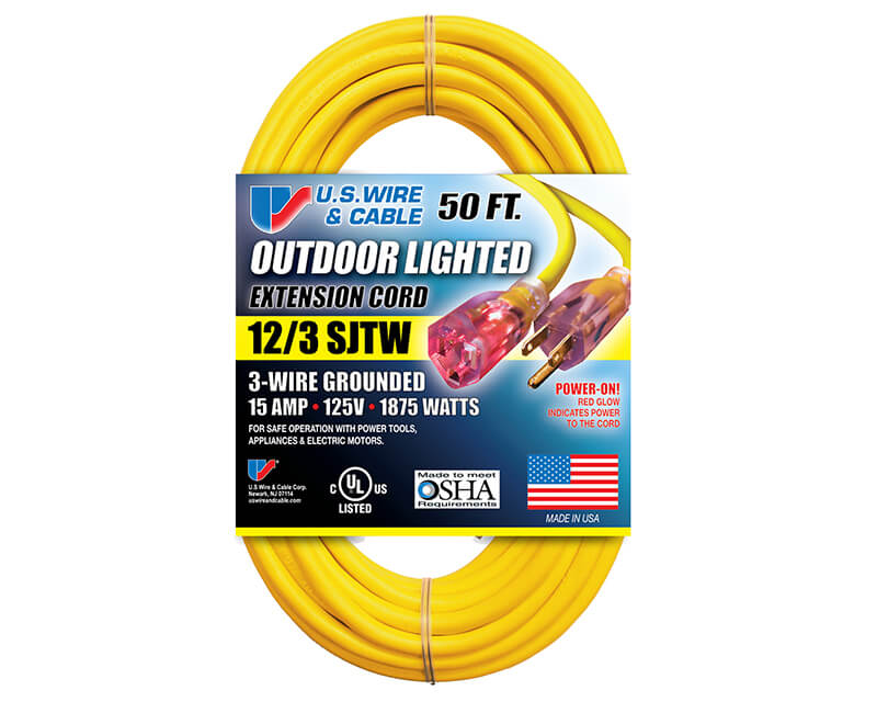 12/3 X 50' All Weather Yellow Extension Cord With Lighted Ends