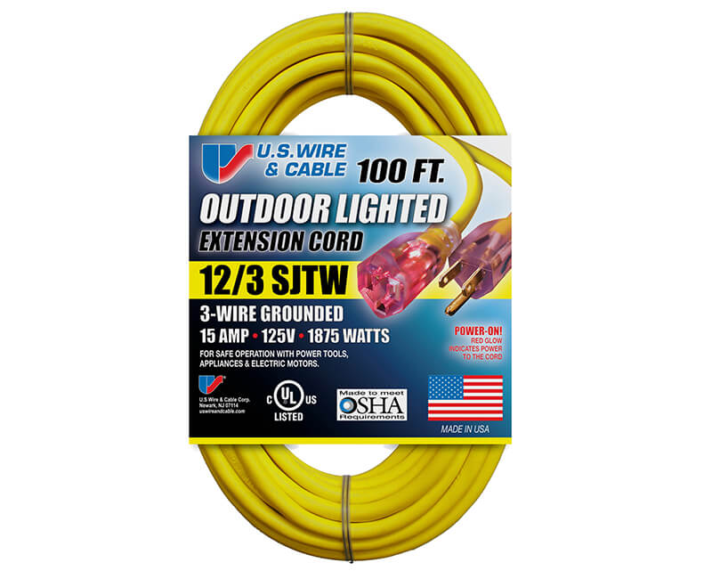 12/3 X 100' All Weather Yellow Extension Cord With Lighted Ends