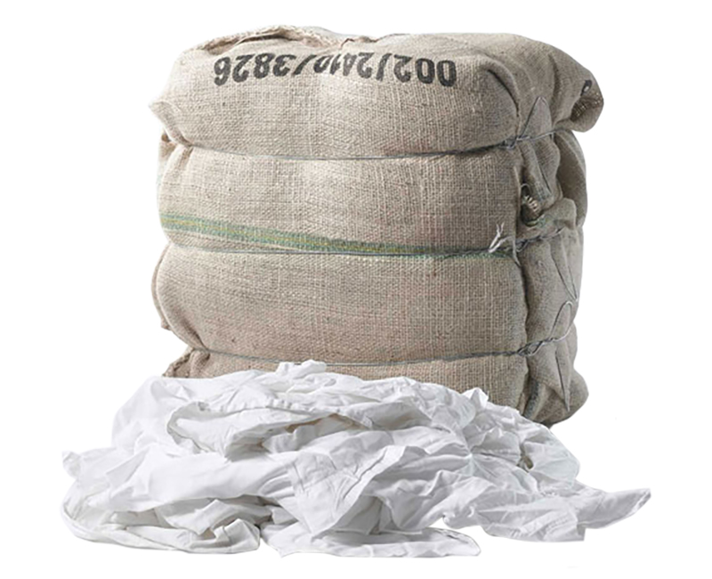 1 LB. Bag Recycled White T-Shirt Rags